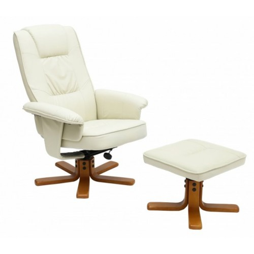 Althorpe Recliner with Footstool PU Cream