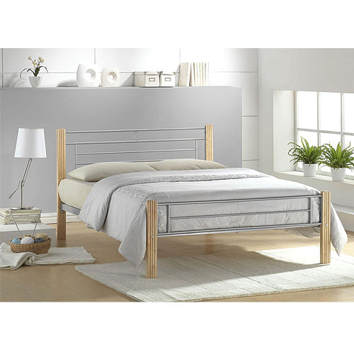 Amber Bed Double Silver/Beech