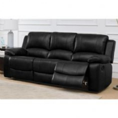 Andalusia Recliner LeatherGel & PU 3 Seater Black