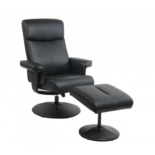 Althorpe Recliner with Footstool PU Black
