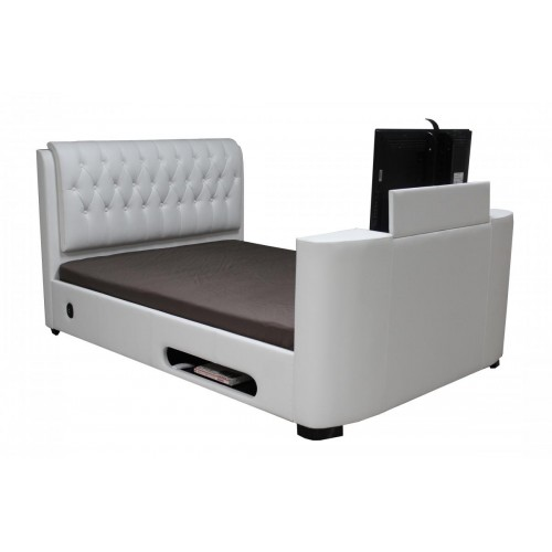 Balmain TV King Size Bed PU White