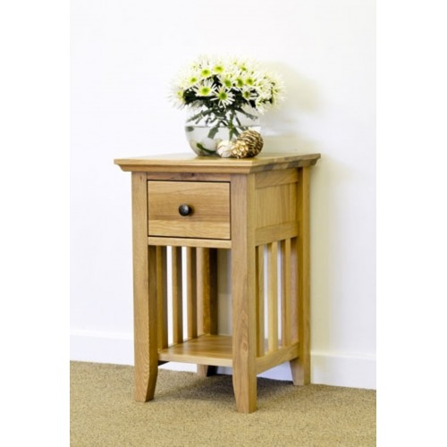 Hereford Rustic Oak 1 Drawer Narrow Bedside