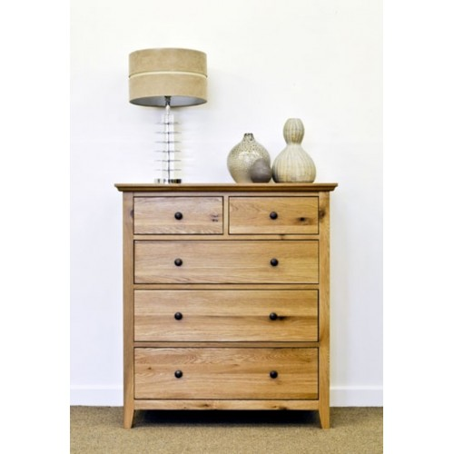 Hereford Rustic Oak 3+2 Drawer Chest