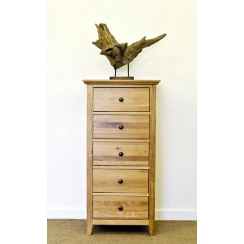 Hereford Rustic Oak 5 Drawer Slim Chest
