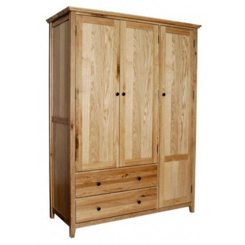 Hereford Rustic Oak Triple Gents Wardrobe with 2 Drawers