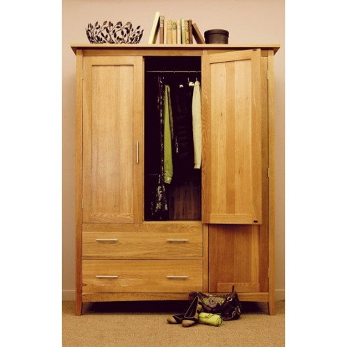 Hereford Oak Three Door Gents Wardrobe