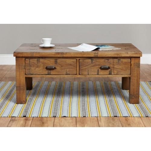 Heyford Rough Sawn Oak Four Drawer Coffee Table