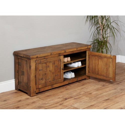 Heyford Rough Sawn Oak Shoe Storage Bench