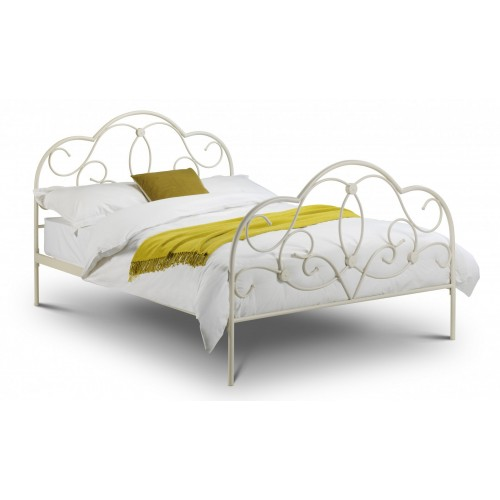 Arabella Bed Stone White Finish 135cm Metal Bed