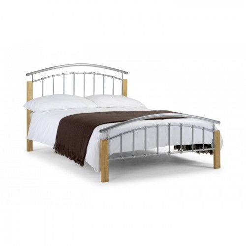 Aztec Bed Aluminium With Oak Finish 120cm Metal Bed