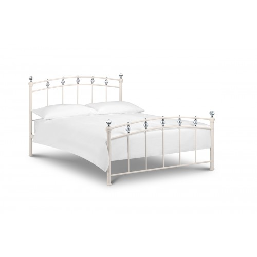 Sophie Bed Stone White with Crystal Finials 135cm Metal Bed