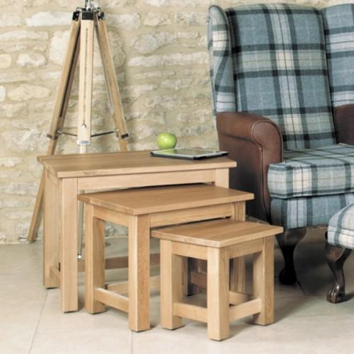 Mobel Oak Nest of 3 Coffee Tables