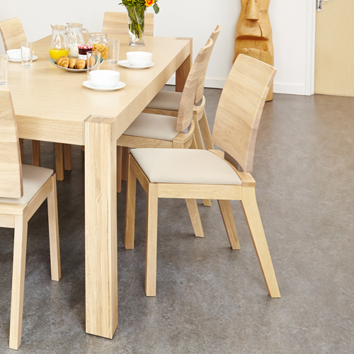 Olten Uno - Ivory Dining Chair in Light Oak Finish (Pack Of Two)