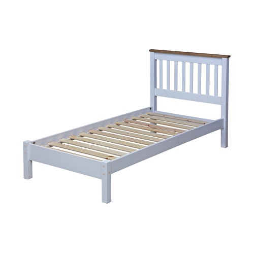 "3'0"" Slatted Lowend Bedstead Capri Waxed Pine & White"