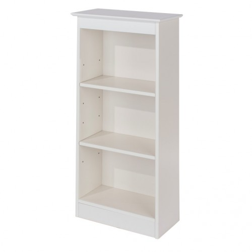 Low Narrow Bookcase Aspen White Painted
