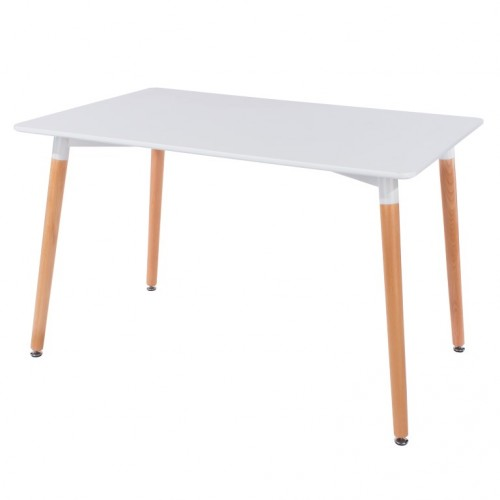 Rectangular White Painted Table With Wooden Legs Aspen White Painted