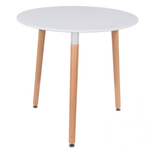 Round White Painted Table With Wooden Legs Aspen White Painted