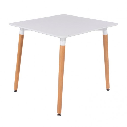 Square White Painted Table With Wooden Legs Aspen White Painted