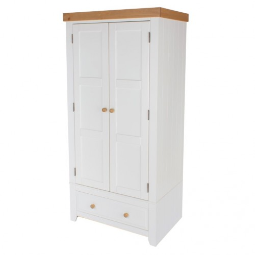 2 Door, 1 Drawer Wardrobe Capri Waxed Pine & White