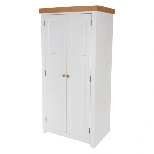 2 Door Wardrobe Capri Waxed Pine & White