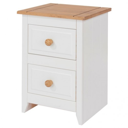 2 Drawer Petite Bedside Cabinet Capri Waxed Pine & White