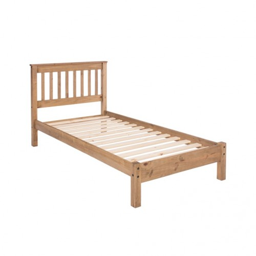 "3'0"" Slatted Lowend Bedstead, Wax Finish Capri Waxed Pine & White"