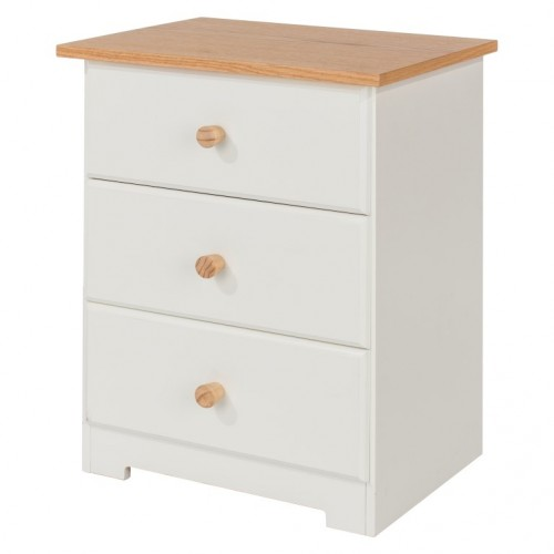 3 Drawer Bedside Cabinet  Colorado Warm White Painted