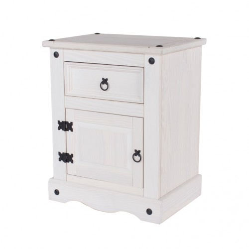 1 Door, 1 Drawer Bedside Cabinet Corona White Washed