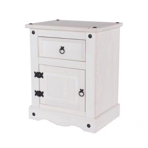 1 Door, 1 Drawer Bedside Cabinet Corona White Washed