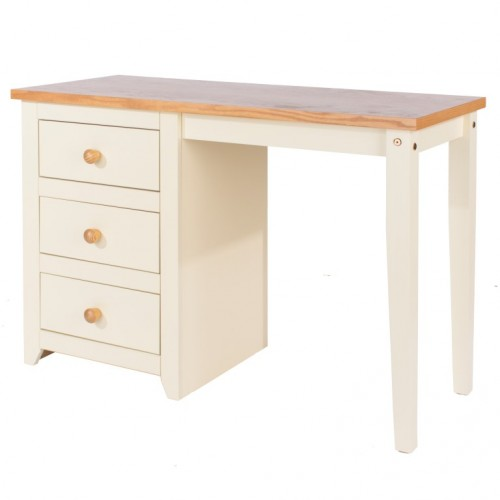 Single Pedestal Dressing Table Jamestown Oak Cream Painted