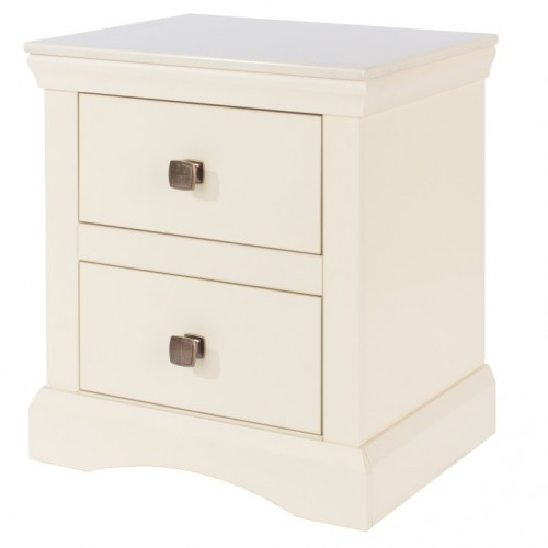 2 Drawer Bedside Cabinet Quebec Cream Painted