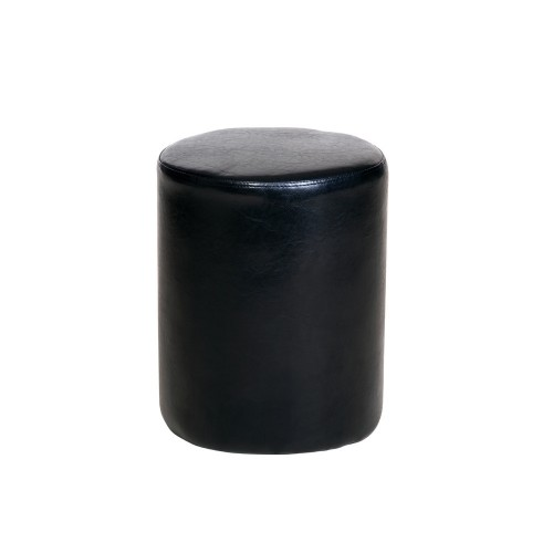Round Stool In Black Faux Leather Banff Warm White Painted