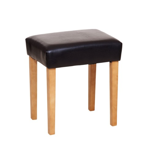 Stool In Brown Faux Leather, Light Wood Leg  Capri Waxed Pine & White