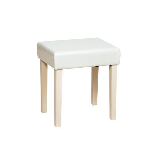 Stool In Cream Faux Leather, Light Wood Leg  Colorado Warm White Painted