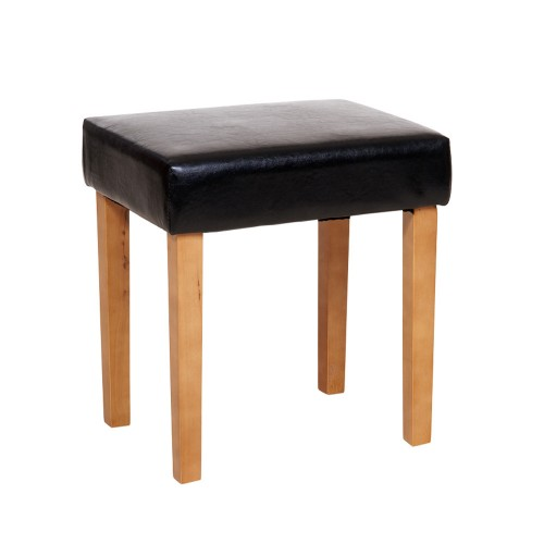 stool in black faux leather, med wood leg  denver handcrafted aged effect