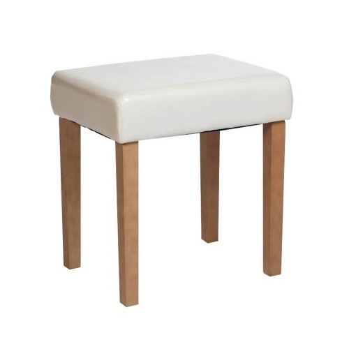 stool in cream faux leather, med wood leg  denver handcrafted aged effect