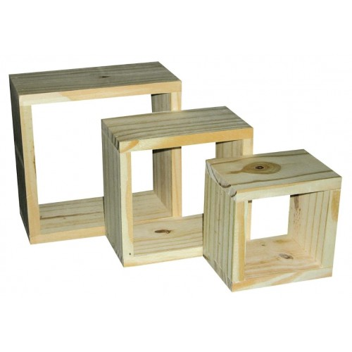 set of three wall cubes Home Ideas shelf board natural wood