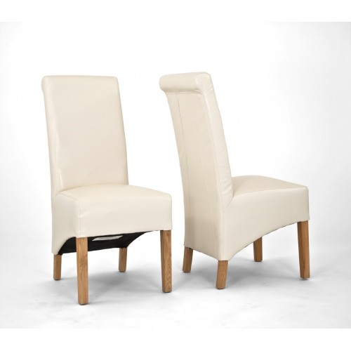 Sherwood Oak Rolltop PU / Bicast Leather Chair - Cream - PAIR (New Style and Code)