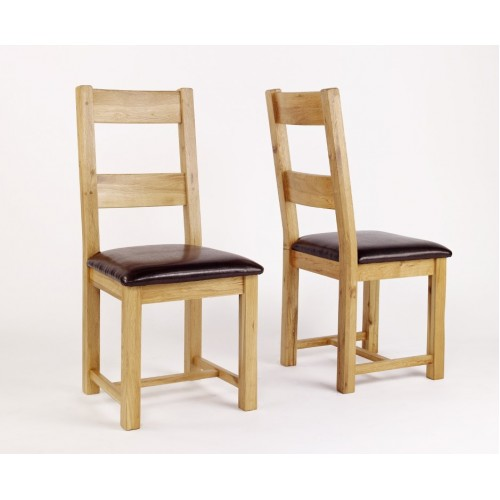 Westbury Oak Leather Dining Chair - Pair