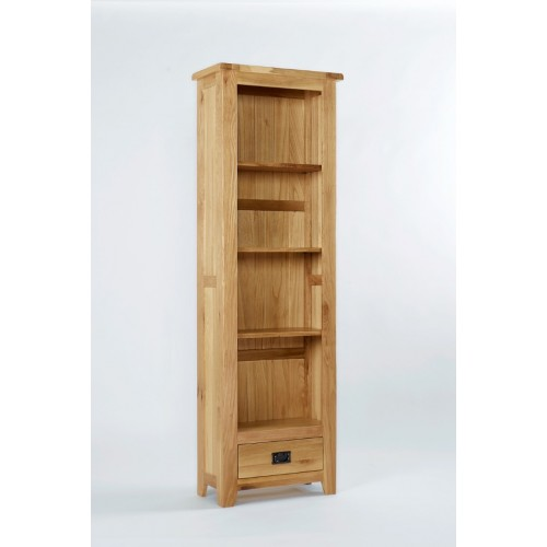 Westbury Oak Tall Narrow Bookcase With Drawer