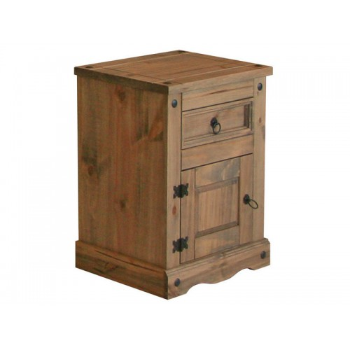 1 door, 1 drawer bedside cabinet corona premium waxed pine