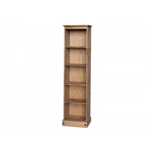 low narrow bookcase corona premium waxed pine