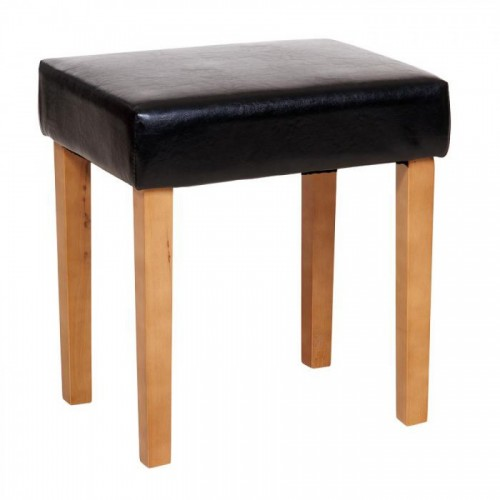 stool in black faux leather, light wood leg corona premium waxed pine
