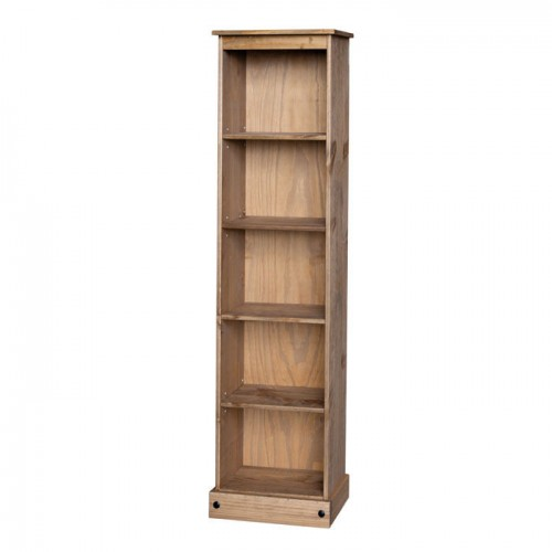 tall narrow bookcase corona premium waxed pine