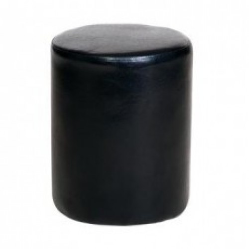 round stool in black faux leather cotswold waxed pine
