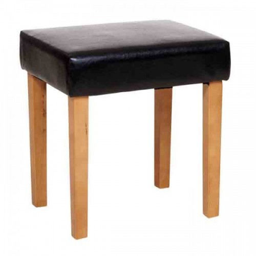 stool in black faux leather, light wood leg cotswold waxed pine