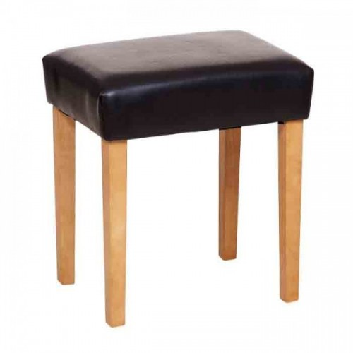 stool in brown faux leather, light wood leg cotswold waxed pine