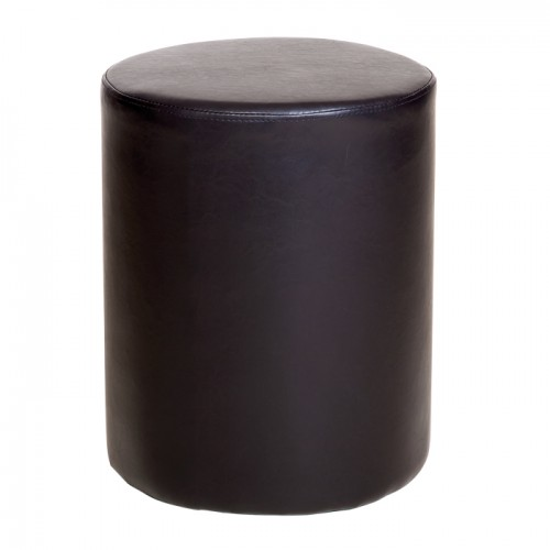 upholstered round stool in brown faux leather