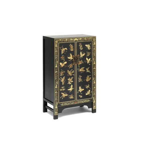 40202 - The Nine Schools Oriental Decorated Black Medium Cabinet
