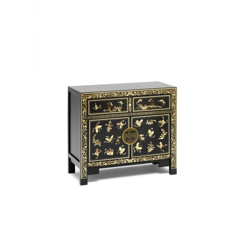 40271 - The Nine Schools Oriental Decorated Black Sideboard